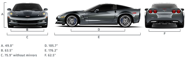 2009 ZR1 Corvette Dimensions