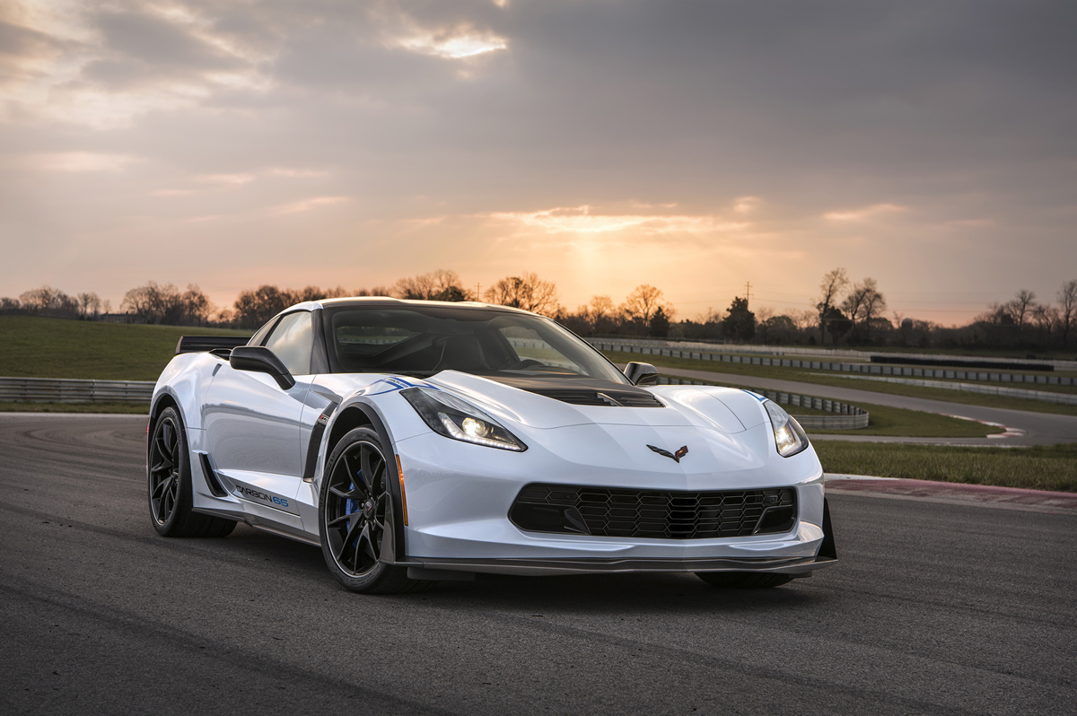 Available on the Z06 3LZ trim, the Carbon 65 Edition celebrates 65 years of Corvette with a new Ceramic Matrix Gray paint color and visible carbon fiber exterior elements, including a carbon fiber hood and rear spoiler.