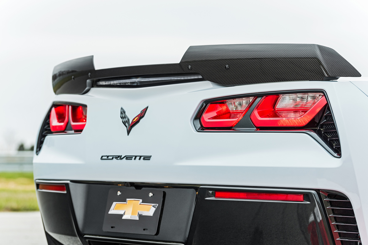 The carbon-fiber rear spoiler is one of many carbon-fiber elements on the Carbon 65 Edition.